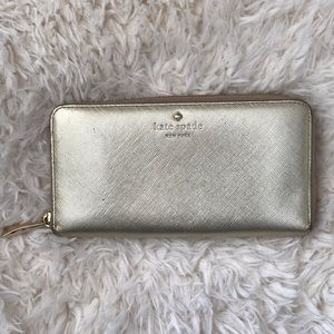 Authentic Kate spade gold leather wallet ,